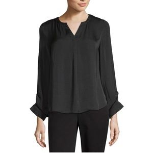 NWT Worthington Split Crew Neck Ruched Cuff Blouse